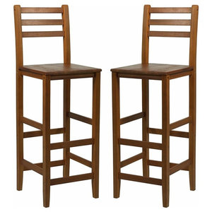 Traditional Set of 2 Bar Stools, Acacia Hardwood With Backrest and Footrest
