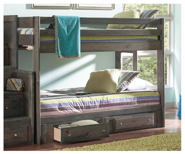 Coaster Wrangle Hill Youth Bunk Bed With Ladder Gun Smoke
