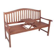Phuket Wooden Garden Bench With Integrated Table