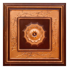 """24""""x24"""" Faux Tin Ceiling Tiles, Glue-up or Drop-in, Set of 6, Antique Copper"""