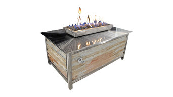 IMPACT Steel Fire Table with Modern / Industrial Style, Rectangle, Natural Gas