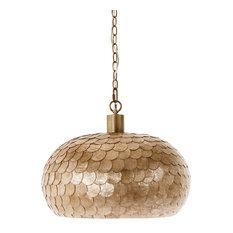 La Sirena Capiz Sea Shell Ball Pendant Lamp, Champagne Color, 1 Bulb