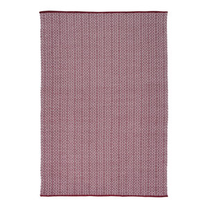 Handwoven Garnet Red Rombini Cotton Rug, 170x240 Cm