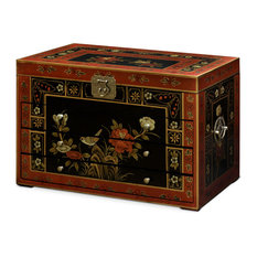 Hand-Painted Jewelry Chest With Tibetan Floral Motif