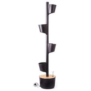 Smart WiFi Self-Watering Vertical Garden With 4 Planters, Black