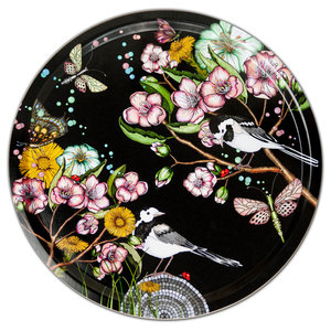 Wagtails Spring Black Tray, 46 cm