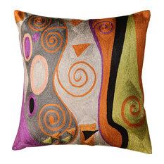 "Klimt Decorative Pillow Green Gray Tree Of Life Art Silk Handembroidered 18x18""″"