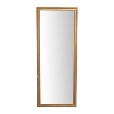 Carved Slim Full Length Wall Mirror, Gold, 72x180 cm