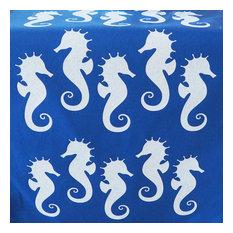 "Seahorse Eco Coastal Table Runner, 16""x90"", Blue"