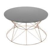 Mendel Round Rose Gold Metal Coffee Table, Gray