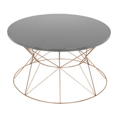 Mendel Round Rose Gold Metal Coffee Table Gray