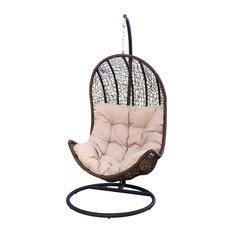Abbyson Living   Newport Outdoor Brown Wicker Egg Shaped Swing Chair    Hammocks And Swing Chairs