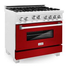 "ZLINE 36"" Range Gas Stove/Gas Oven, DuraSnow Stainless Steel, Red Gloss Door"