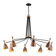 Utopia by Martyn Lawrence Bullard 8-Arm LED Chandelier, Brass, Acacia Wood