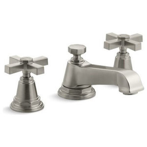 Kohler Pinstripe Pure Widespread Bathroom Faucet, Vibrant Brushed Nickel