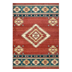 Southwestern Flamestitch Tribal Diamond Area Rug, Red, 8'x10'