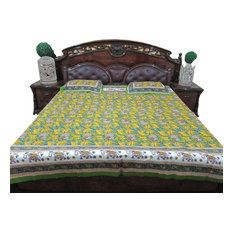 Mogul Interior - Indian Print Bedspread Summer Cotton Bedding Green Animal Printed - Quilts and Quilt Sets
