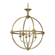 Currey and Company 9346 Bellario Orb 4 Light Candle Style, Brass