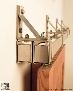 Aero barn door hardware kit rustic barn door hardware for Real carriage hardware