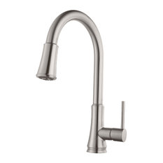 Pfister Pfirst Series Single Handle Pull-Down Kitchen Faucet, Stainless Steel