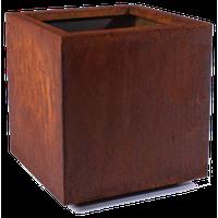 Metallic Series Corten Steel Cube Planter, Medium