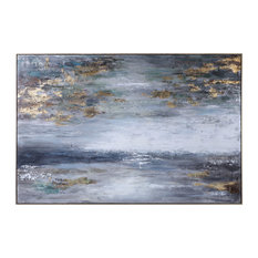 """Luxe Oversize Modern Seascape Wall Art 73"""" Gold Gray White Abstract Painting"""