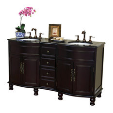 62-inch Double Sink Vanity Solid Wood Mahogany Finish Black Granite Counter Top