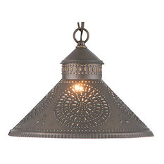 Stockbridge Shade Light Pendant with Chisel in Kettle Black Punched Tin