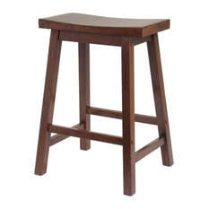 Pemberly Row 24-inch Counter Saddle Stool In Antique Walnut