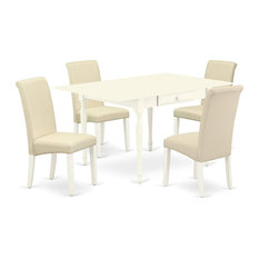 Traditional Dining Set Drop Down Table And 4 Cushioned Chairs White