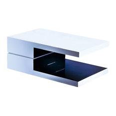 Glossy White And Black Lacquer Coffee Table, Rectangular