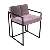 Federico Dining Chair, Blush Velvet, Black Frame