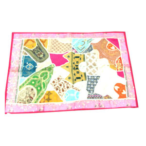 Mogulinterior - Indian Patchwork Pink Tapestry Wall Hanging Home Decor - Tapestries