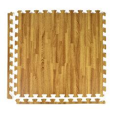 "Greatmats - 24""x24"" Wood Grain and Cork Interlocking Foam Floor Tiles, Set of 25, Light Wood - Cork Flooring"