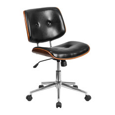 Flash Furniture - Flash Furniture Mid-Back Black Leather Wood Swivel Task Chair - Office Chairs