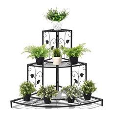 Modern 3 Tier Floral Corner Metal Plant Pot Rack
