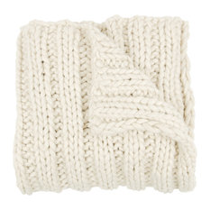 Cable Chunky Knit Throw Blanket, Natural White