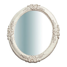 Baroque Wooden Wall Mirror, White, Oval, 40x50 cm