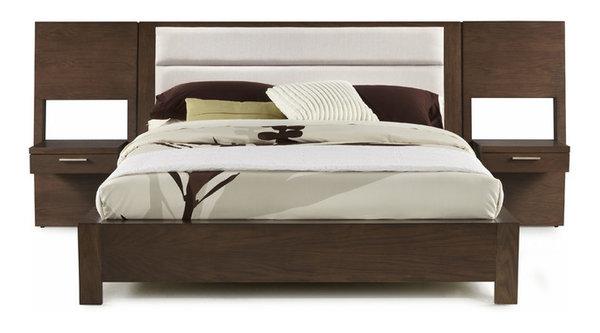 Hudson Upholstered Platform Bed With Panel Night Stands