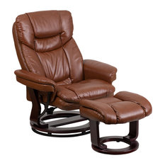 Brown Vintage Leather Recliner and Ottoman With Swiveling Mahogany Wood Base