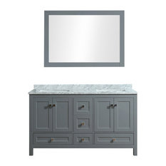 "Dubai 60"" Double Vanity Set With Mirror, Charcoal Gray"