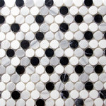 districtII - Marble Penny Round Mosaic Tile, Black & White - Price is per sheet