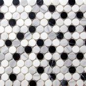 Marble Penny Round Mosaic Tile, Black & White
