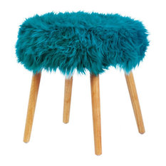 Zingz and Thingz Faux Fur Upholstered Stool, Turquoise