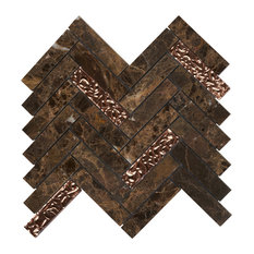 "Emperador Dark Brown Marble Mosaic Tile Herringbone, 11.5""x11.75"", Set of 5"