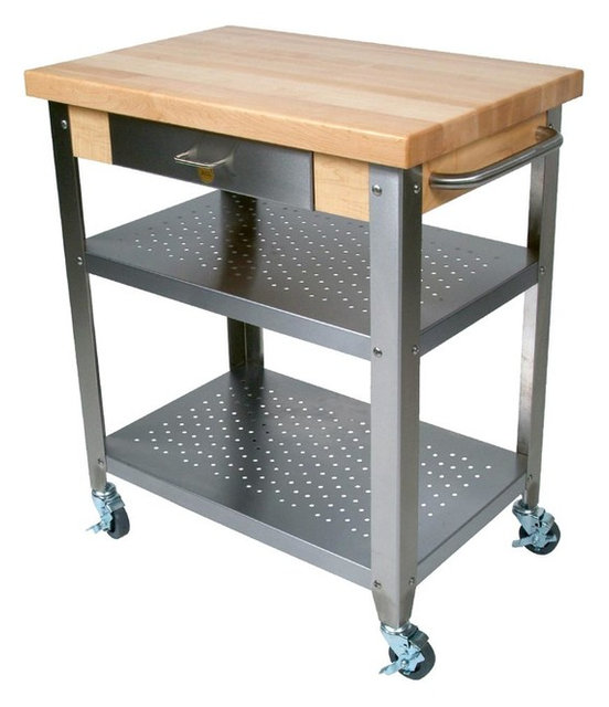 John Boos Maple And Stainless Cucina Elegante Kitchen Cart, No Drop Leaves