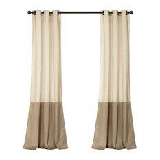 Prima Velvet Color Darkening Window Curtain, Ivory/Taupe Set, 38x84