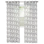"Trademark - Lavish Home Valencia Embroidered Curtain, 95"", Charcoal - This warm and welcoming panel curtain will beautifully frame your windows adding depth to any room. Bring style home with this Lavish Home Embroidered Curtain."