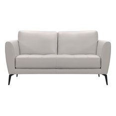 Armen Living Hope Leather Loveseat In Dove Gray And Black