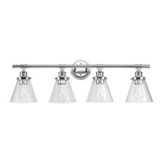 Parker 4-Light Chrome Vanity Light With Clear Glass Shades